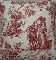 A 16 Inch Cushion Cover In Laura Ashley Toile Raspberry fabric