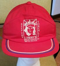 """Statue Of Liberty """"Keep The Torch Lit"""" Snapback Cap Trucker Hat/fishing/red/1982"""