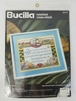 """1995 Bucilla Counted Cross Stitch Kit #41177 GIVE US LORD 12"""" x 10"""" NEW"""