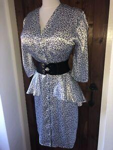 Striking Vintage Shiny Satin Button Up Power Pencil Dress Size 10,12 Bust 40ins