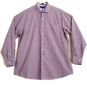 Tommy Hilfiger Mens Size 17 34-35 Red Blue Plaid Long Sleeve Button Front Shirt