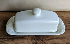 Longaberger Woven Traditions Pottery Butter Dish Ivory