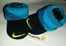 New Nike Air Baby Unisex Newborn Infant Booties. 0-6M Black And Blue