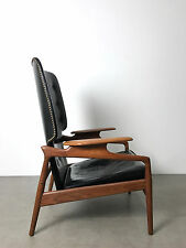 Mid Century Danish Modern Teak Black Leather Recliner Lounge Chair Finn Juhl Era