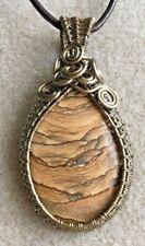 Picture Jasper Gemstone Cabochon Wire Wrapped Pendant Necklace