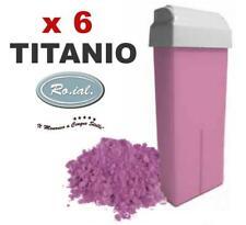 6 Ricariche cera TITANIO rosa 100 ROIAL cartucce roll-on ceretta rullo manipolo