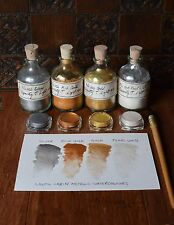 Unique metallic watercolour paint 3.5ml pot Set 4 GOLD, COPPER, SILVER, PEARL