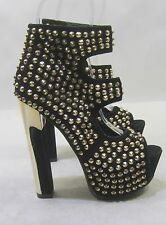"""Blacks  gold spikes 6"""" high heel 2"""" platform sexy shoes  ankle strap .Size   6.5"""