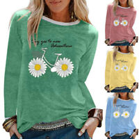 Womens T Shirt Long Sleeve Blouse Daisy Print Tops Tunic Crew Neck Pullover Size