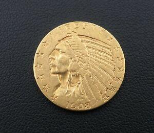 1908 $5 Dollar Indian Head Half Eagle Gold Coin Free Shipping Rare M1539