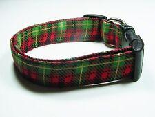 Charming Red, Green, & Gold Christmas Holiday Plaid Dog Collar
