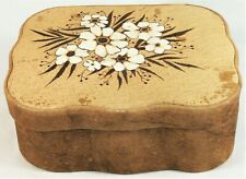 Leather Box Jewelry Vintage Trinket Antique Flowers White Art Florals Folk Gift