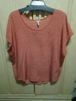 JOIE Orange Tones Abstract Print Silk Oversized Cami Blouse Top Size S