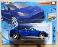 Hot Wheels 2020 Factory Fresh #112 Tesla Model 3 Metallic Blue New short card