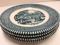 Currier & Ives Bread Plates Lot of 4 Blue Royal China USA