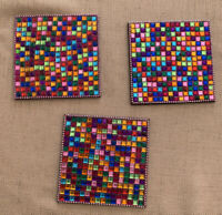 Pier 1 Imports Multi Color Mosaic Bead Glass Jems Set Of 3 Coasters