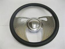 "14"" Street Hot Rod Chrome Aluminum Leather Bat Wing Steering Wheel Kit DISPLAY"