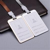 Aluminum Pocket Credit ID Card Badge Tag Holder Pass Case w/ Neck Strap Lanyard