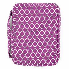 PURPLE BIBLE COVER Lavender Quatrefoil Pattern Holy Book Pocket Zipper Soft Case