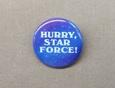 """Star Blazers 'Hurry Star Force!' 1.25"""" Button Yamato Argo Anime Series SF Repro"""