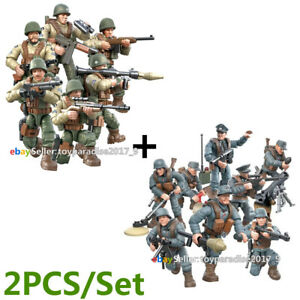 ☀️☀️☀️ WW2 WWII Mini Military Soldiers German + US Army Weapon Figures Set
