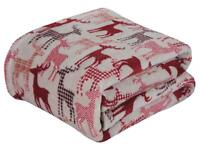 Ultra Soft & Cozy Oversized Christmas Plaid Reindeer Plush Throw Blanket Cover
