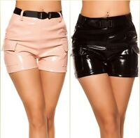 Koucla High Waist Wetlook Lederlook Lack Optik Shorts mit Gürtel