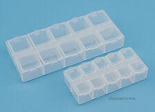 10 Slots Clear Plastic Box Jewelry Bead Storage Container Craft Organizer DIY