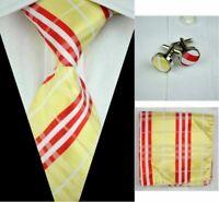Tie Set Yellow Red White Classic 100% Silk Hanky Cufflinks Men's Necktie Set