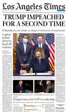 TRUMP IMPEACHED 2nd IMPEACHMENT Pelosi LA Times Newspaper January 14 2021