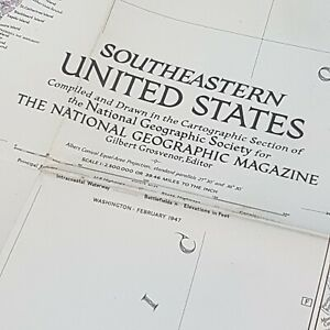 National Geographic Map of South Eastern United States, 1947