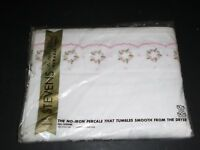 NOS Vtg NOS Stevens Twin Flat Pink Green Embroidered Floral 50/50 Percale