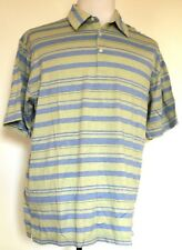 Greg Norman Blue/Green Striped Crow Valley Golf Club Davenport S/S Polo Shirt XL