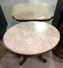 RARE Two x2 LARGE Antique Victorian Side TABLE on wheels Vintage Marble Top Oval