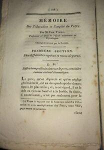 PORC. CHARCUTERIE.   MÉMOIRE SUR L'ÉDUCATION ET L'EMPLOI DU PORC.1814.