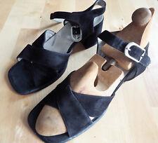 Sandales Vintage ORCADE en cuir retourné noir Pointure 37