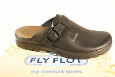 Fly Flot Clogs Mules Slippers House Shoes Black Real Leather New