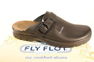Fly Flot Muli Zoccoli Pantofola Pantofole Nero Vera pelle Nuovo