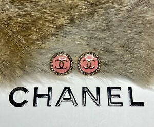 (2) Authentic Chanel Stamped Buttons 16mm Round Pink Gold Button Lot