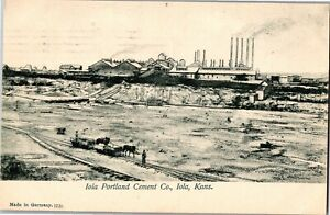 Iola Portland Cement Company Iola KS Factory View c1907 Vintage Postcard P02