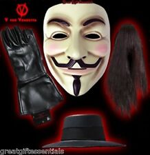 V FOR VENDETTA MASK, WIG, GLOVES, HAT SET Costume Guy Fawkes Anonymous LICENSED