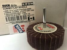 "10 Choice of Grade 1 X 1 X 1//4/"" Shank Interleaved Flap Wheel KEEN Brite 55964"