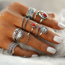 Hot New Women Antique Silver Carved Flower Nature Stone Midi Rings 14PCS/Set