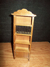 VINTAGE DOLLHOUSE BOOK SHELVES BOOKCASE WOODEN WITH BOOKS