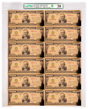 2017) $100,000 Gold Certificate Smithsonian Treasury Sheet PMG 70 UNC SKU50139