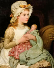 Dream-art Oil painting Kate Perugini - a young girl with her doll hand painted