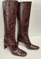 DKNY Leather Boots Tooled Look Pull On Fashion Italy Brown Vtg New w Defect 8