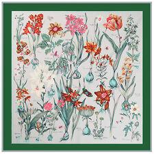 """Women's Green Big Scarves Vintage Flower Print Silk Head Shawl Scarf 51""""*51"""""""