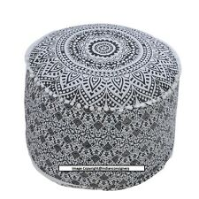 Black-White Cotton Puff Ombre Mandala 22''Inch Ottoman Round Stool Chair Seat