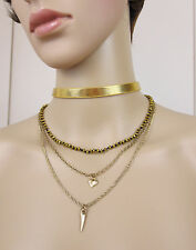 NWT Statement Fashion Necklace Multi-Strand Collar Choker Gold Plated & Leather